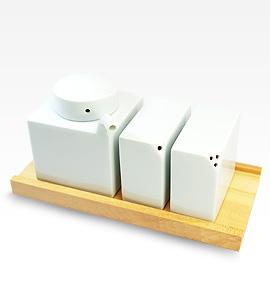 3点コンディメントセット(木台付) 白山陶器